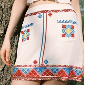 URBAN OUTFITTERS White/Red/Blue Embroidered Mini